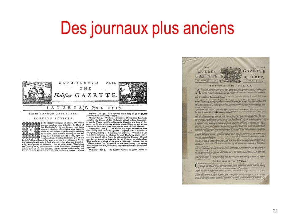 Des journaux plus anciens