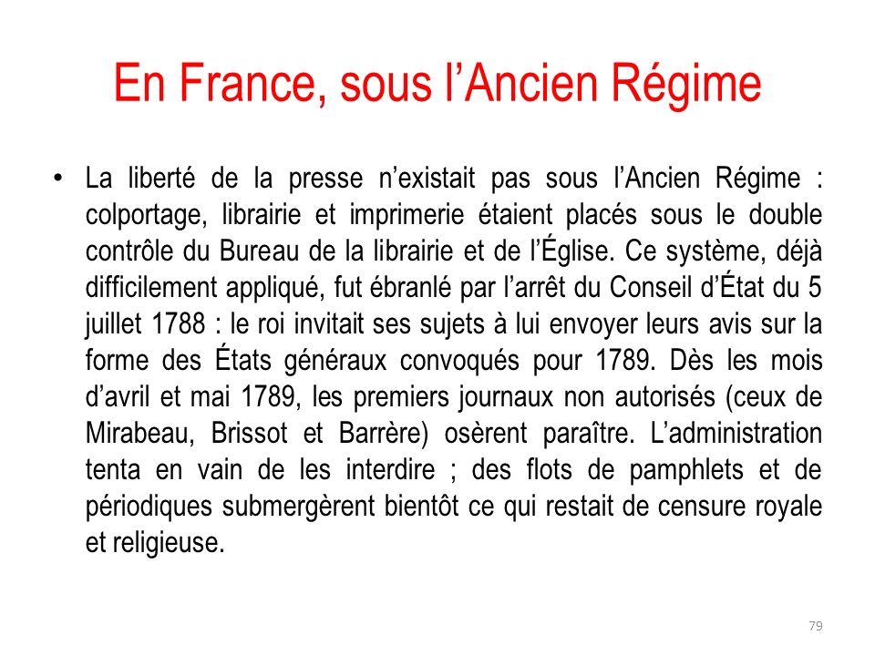 En France, sous l'Ancien Régime