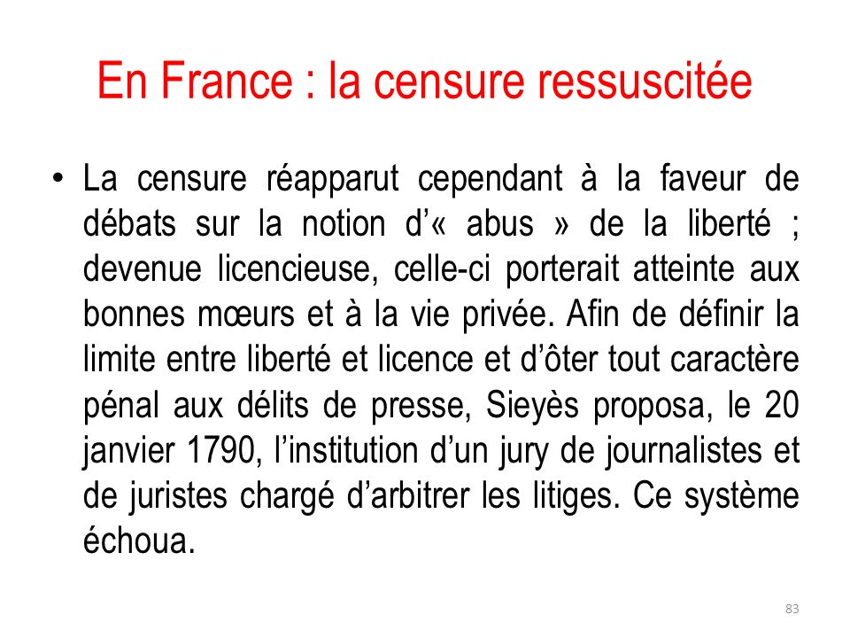 En France : la censure ressuscitée