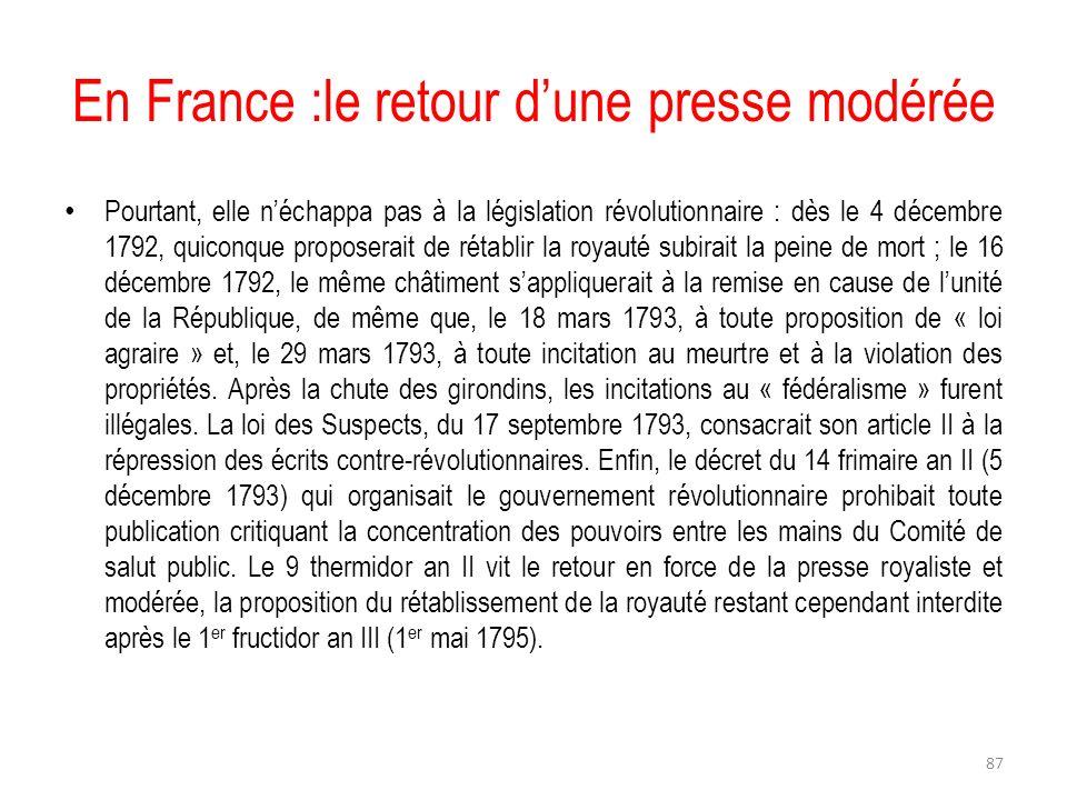 En France :le retour d'une presse modérée