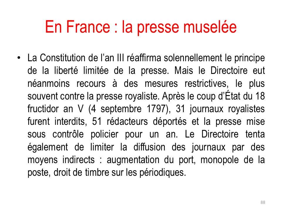 En France : la presse muselée