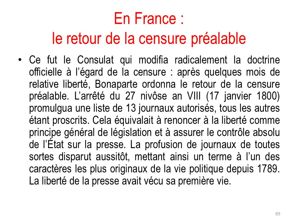 En France : le retour de la censure préalable