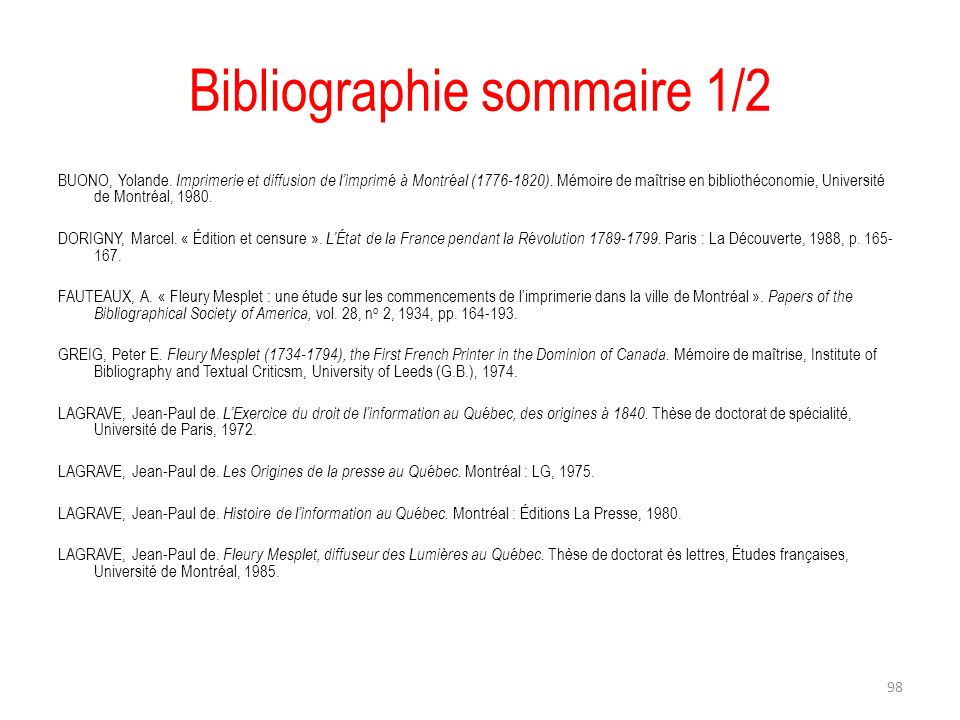 Bibliographie sommaire 1/2