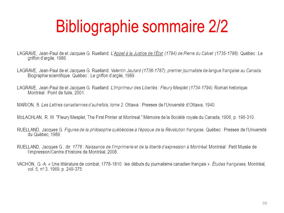 Bibliographie sommaire 2/2