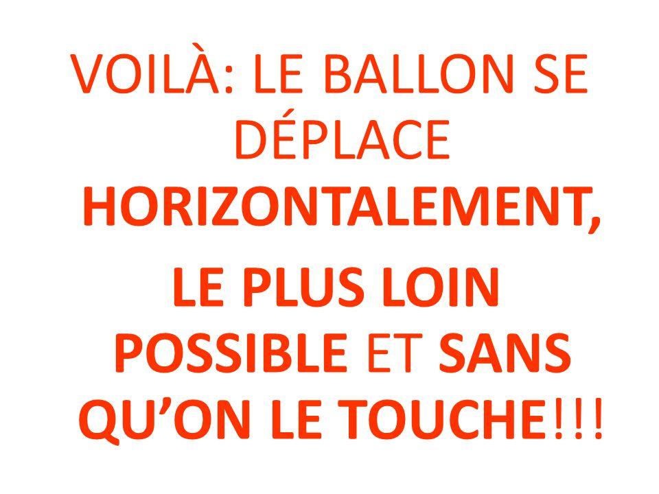 VOILÀ: LE BALLON SE DÉPLACE HORIZONTALEMENT, LE PLUS LOIN POSSIBLE ET SANS QU'ON LE TOUCHE!!!