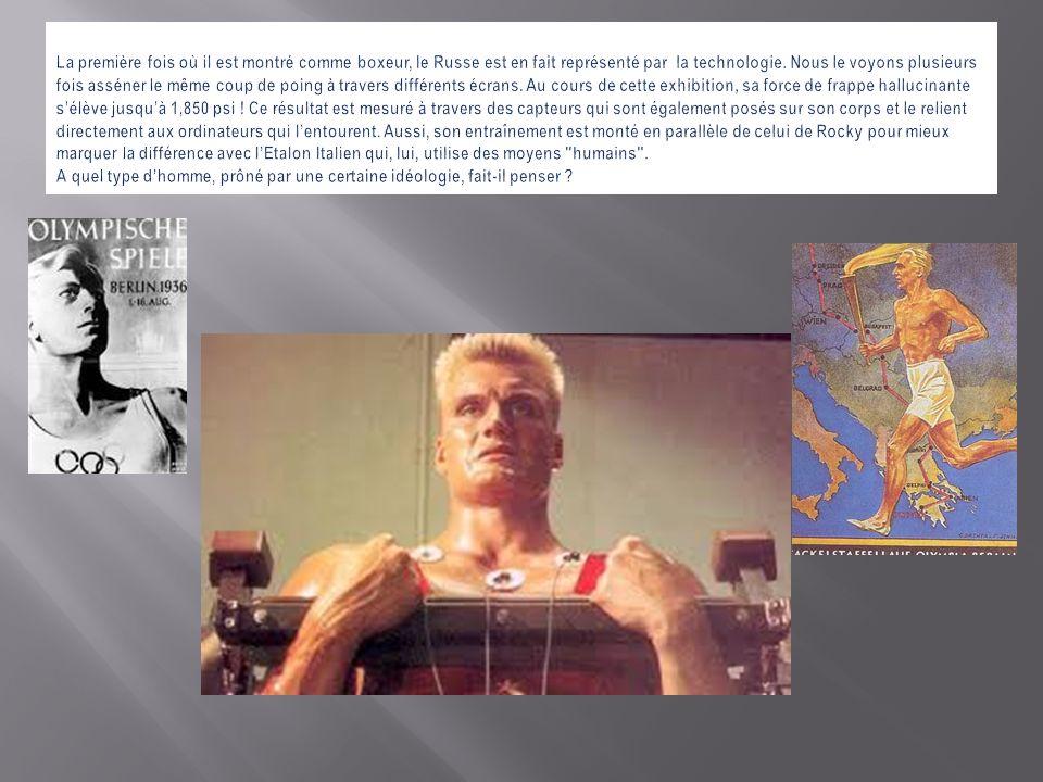 La première fois où il est montré comme boxeur, le Russe est en fait représenté par la technologie.