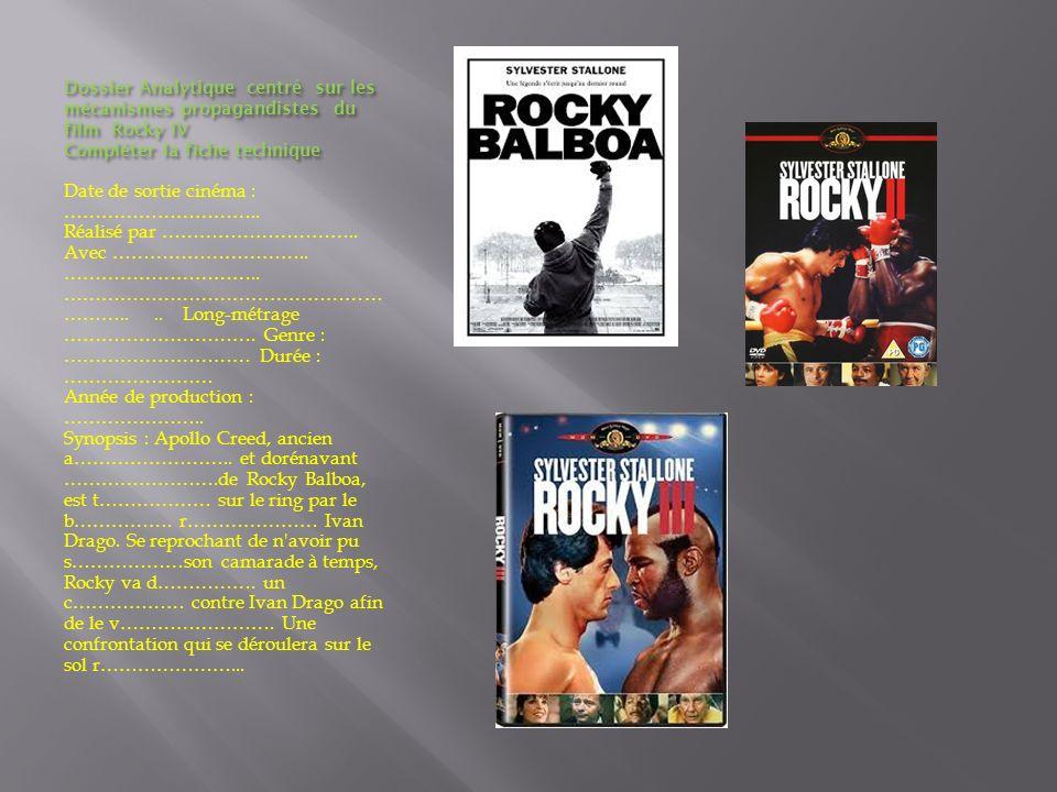 Dossier Analytique centré sur les mécanismes propagandistes du film Rocky IV Compléter la fiche technique