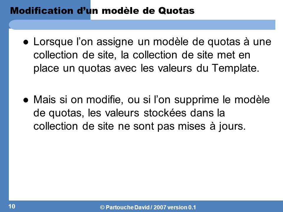Modification d'un modèle de Quotas