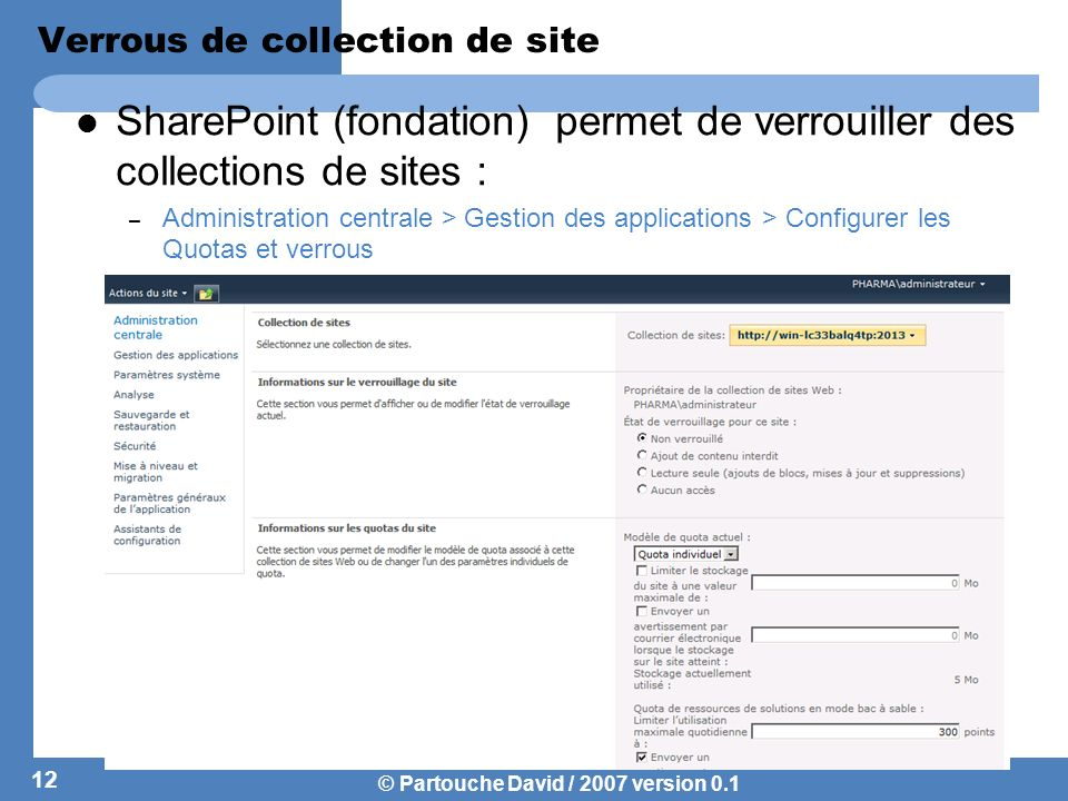 Verrous de collection de site