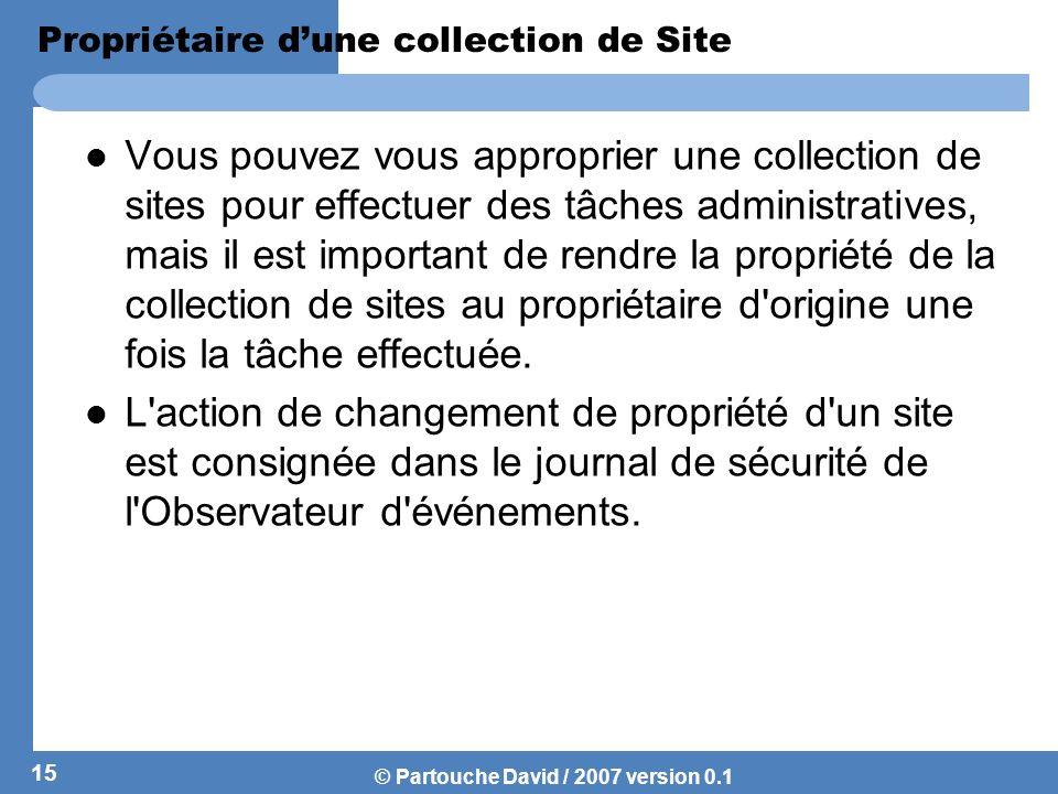 Propriétaire d'une collection de Site
