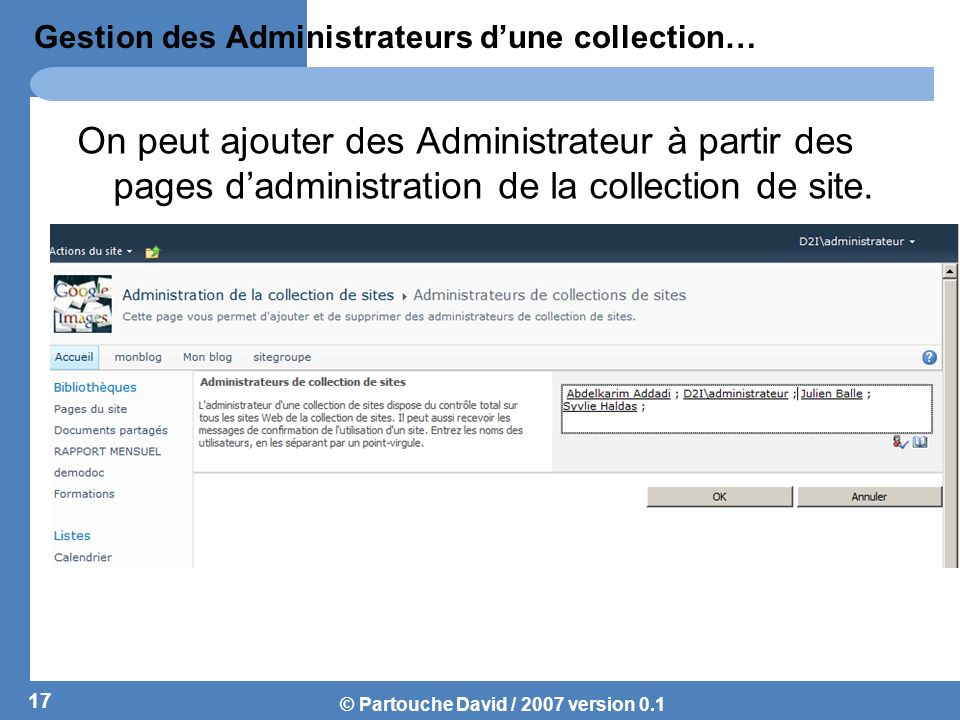 Gestion des Administrateurs d'une collection…