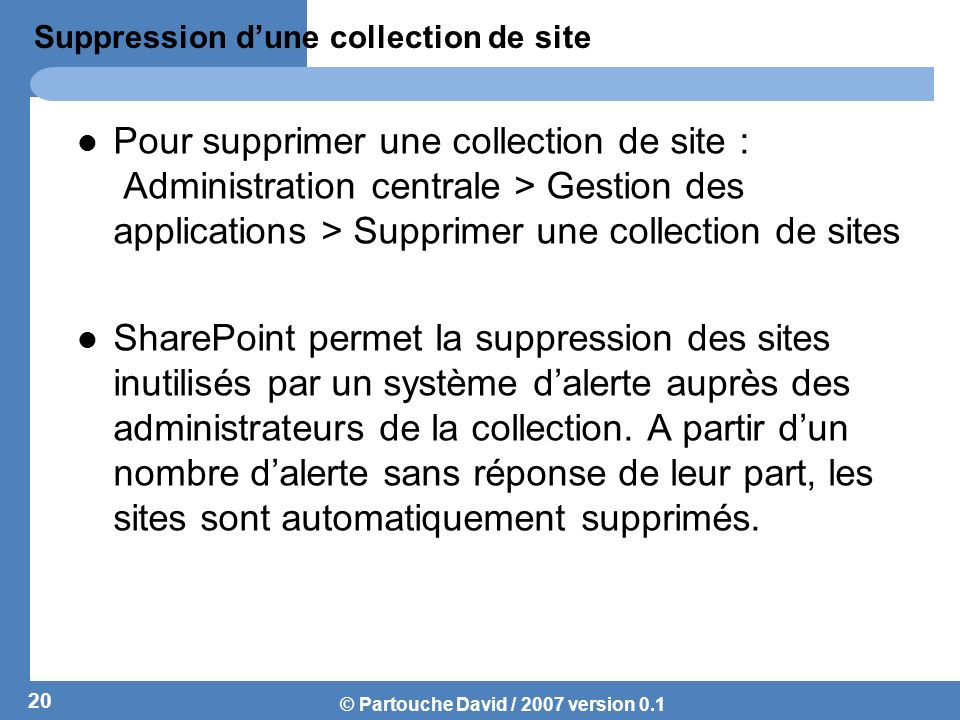 Suppression d'une collection de site
