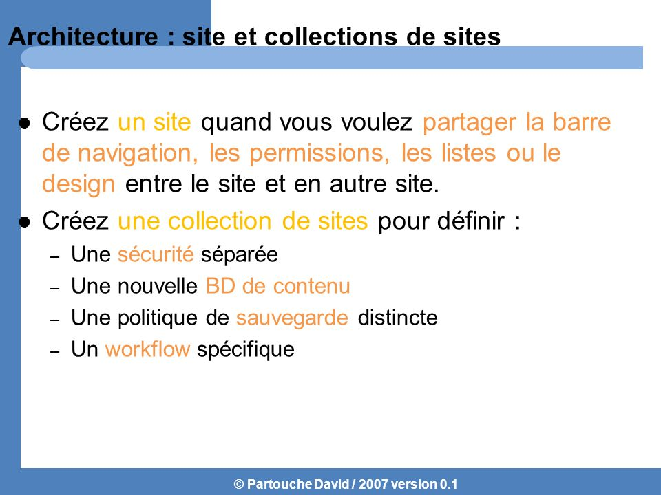 Architecture : site et collections de sites
