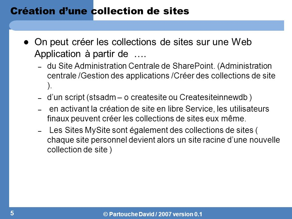 Création d'une collection de sites