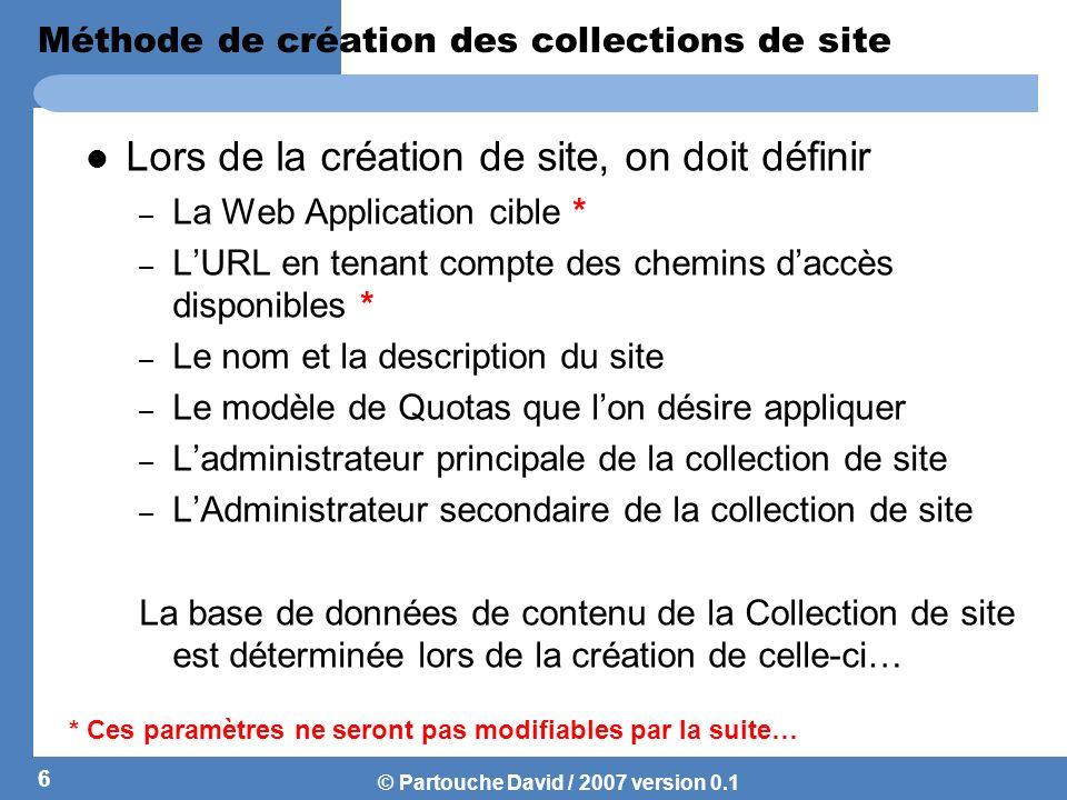Méthode de création des collections de site