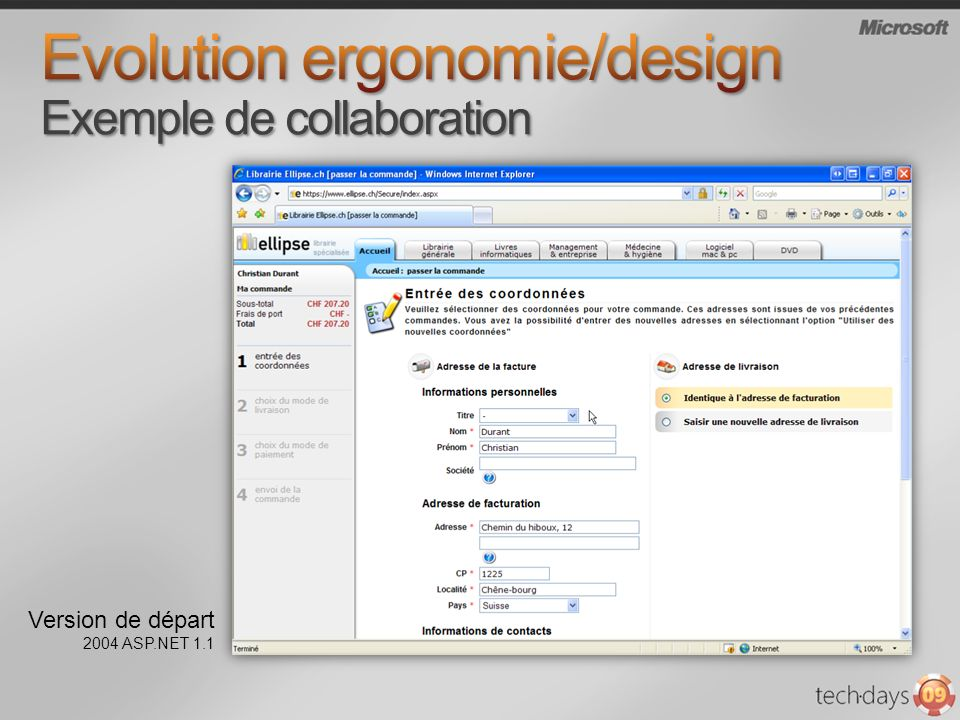 Evolution ergonomie/design Exemple de collaboration
