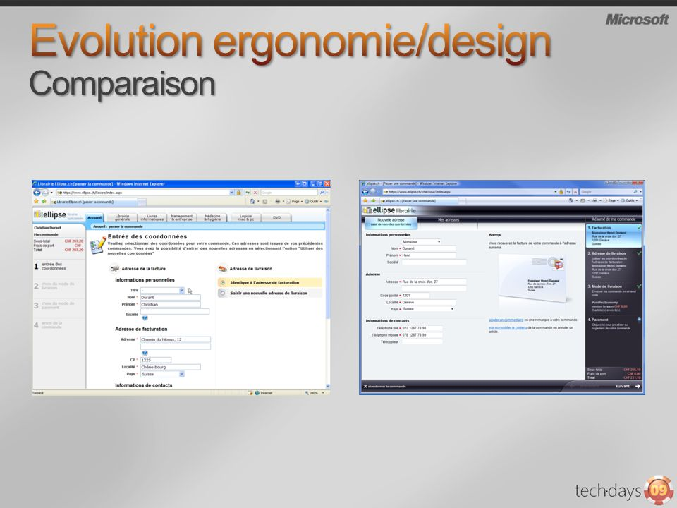 Evolution ergonomie/design Comparaison