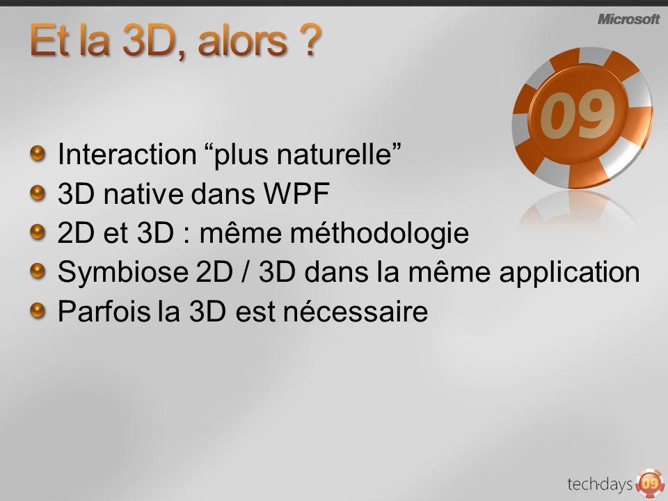 Et la 3D, alors Interaction plus naturelle 3D native dans WPF