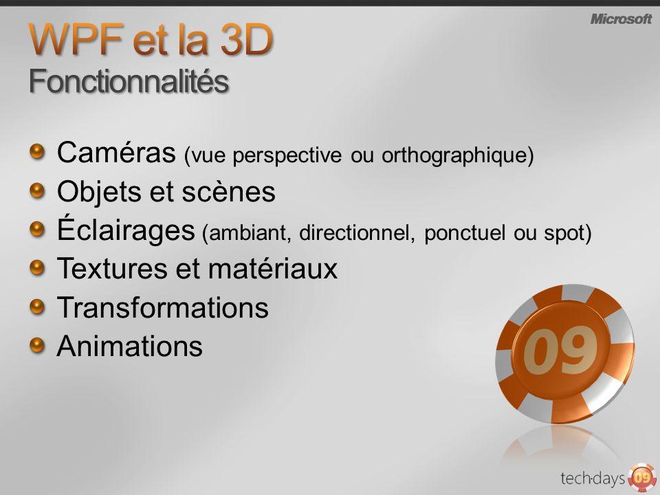 WPF et la 3D Fonctionnalités