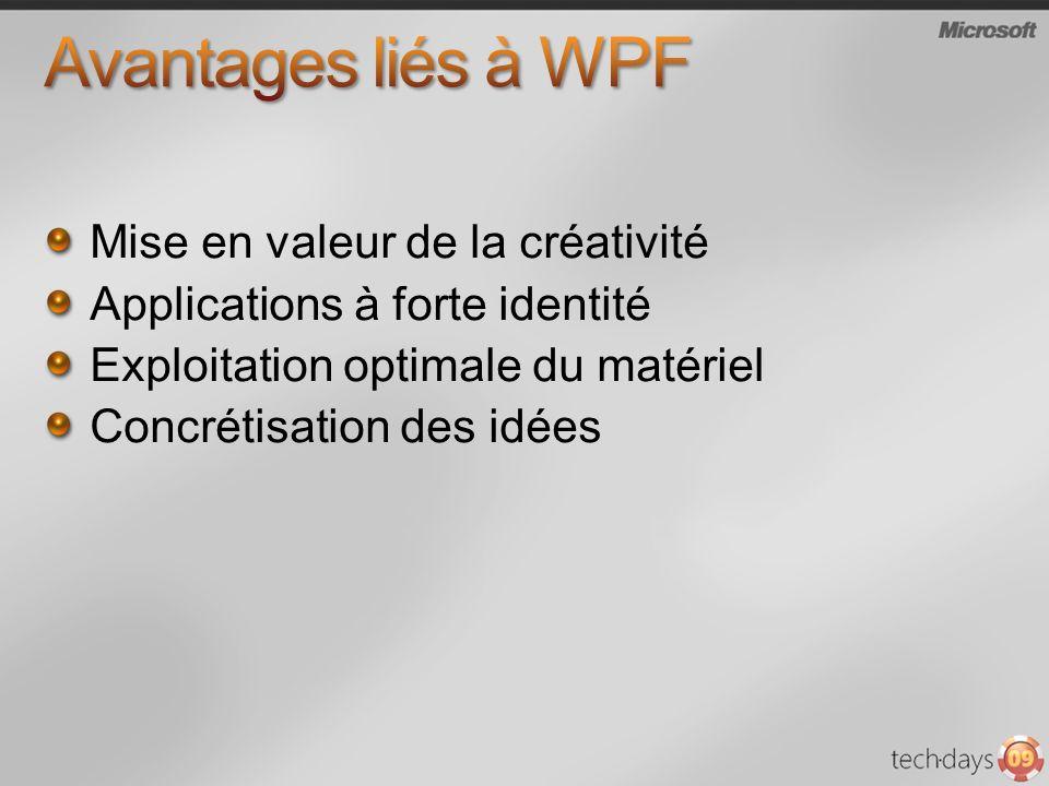 Avantages liés à WPF Mise en valeur de la créativité