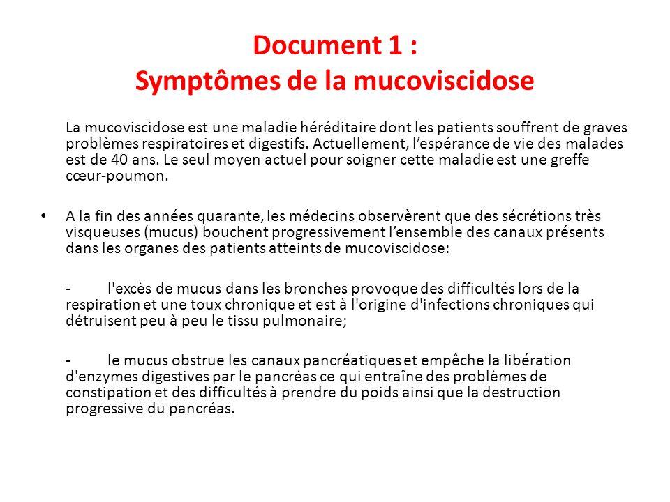 Document 1 : Symptômes de la mucoviscidose