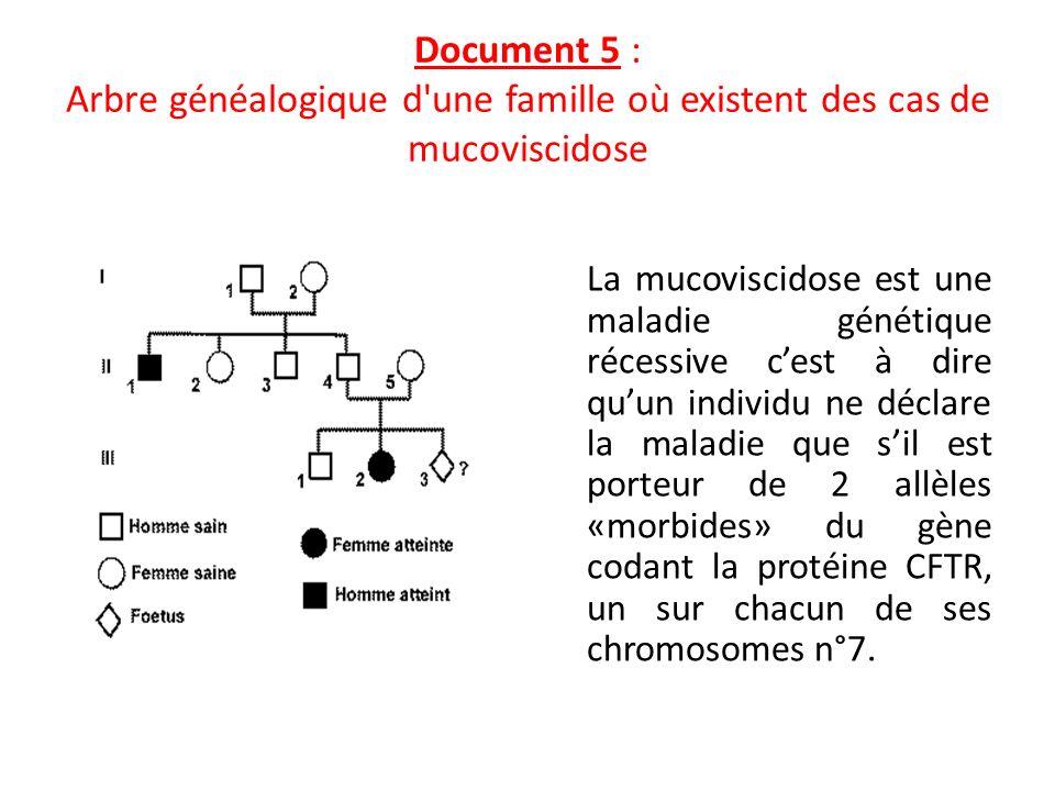 Document 5 : Arbre généalogique d une famille où existent des cas de mucoviscidose