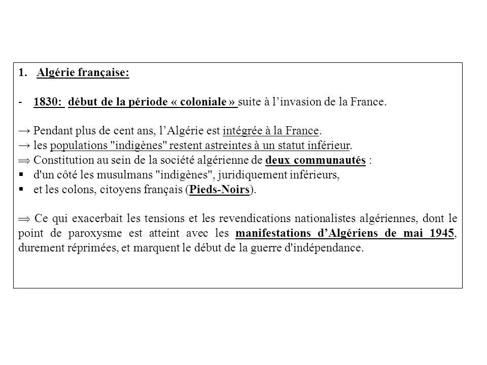 Algérie française: 1830: début de la période « coloniale » suite à l'invasion de la France.