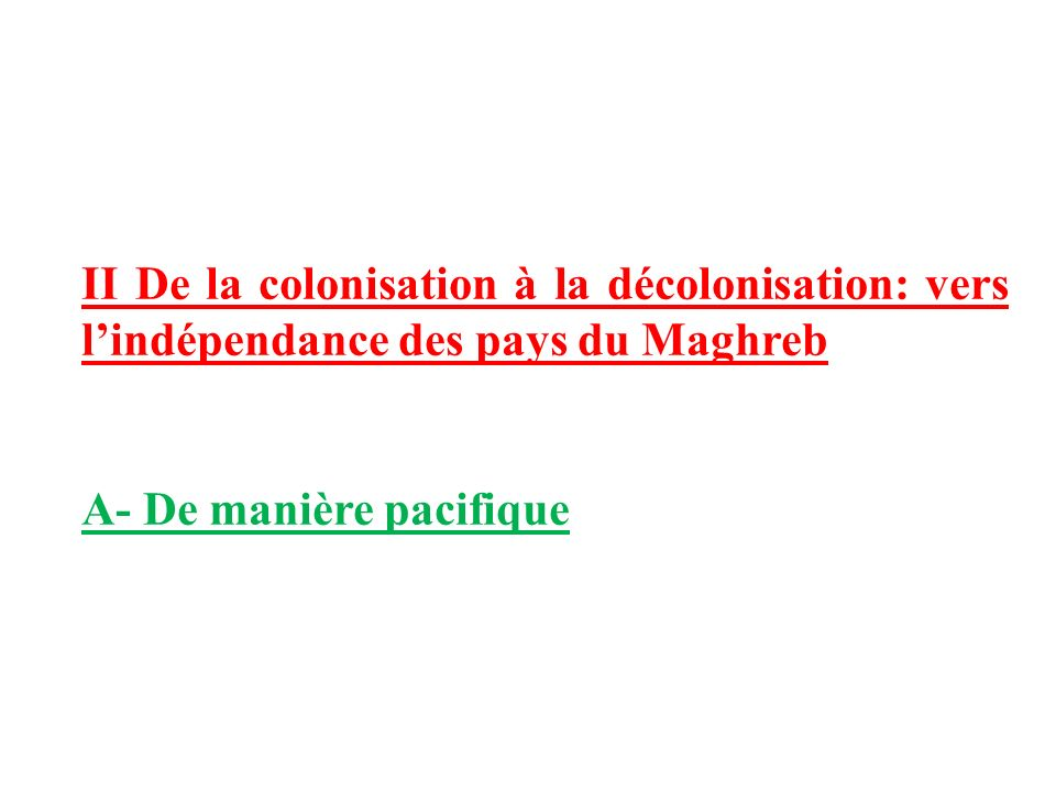 II De la colonisation à la décolonisation: vers l'indépendance des pays du Maghreb