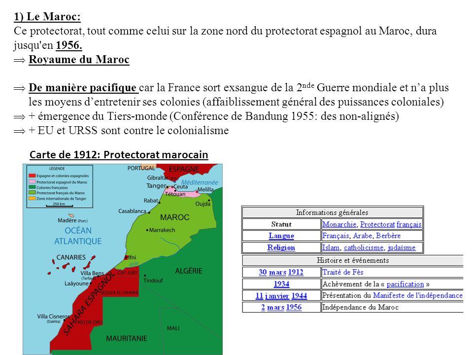 1) Le Maroc: Ce protectorat, tout comme celui sur la zone nord du protectorat espagnol au Maroc, dura jusqu en 1956.