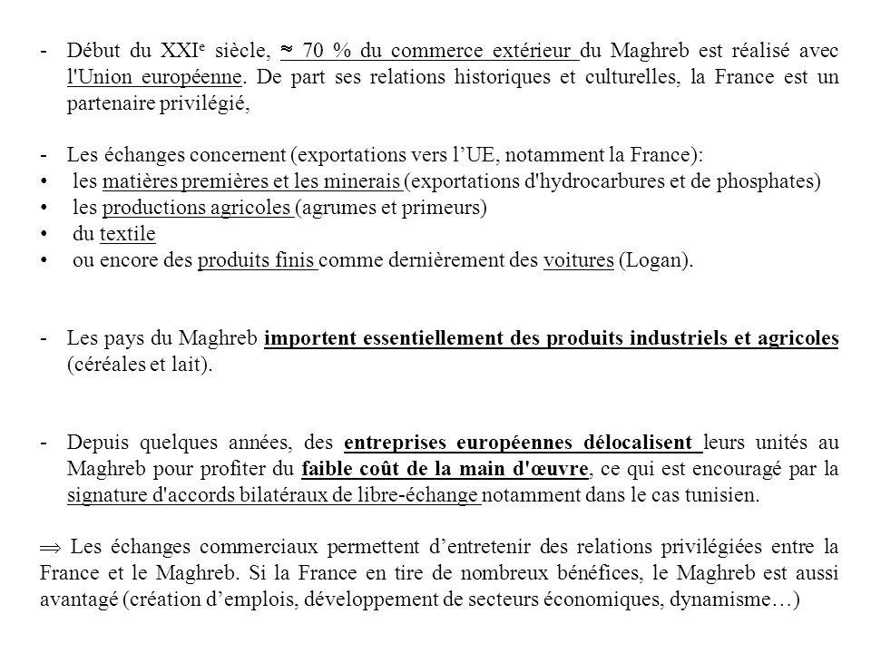 Début du XXIe siècle,  70 % du commerce extérieur du Maghreb est réalisé avec l Union européenne. De part ses relations historiques et culturelles, la France est un partenaire privilégié,
