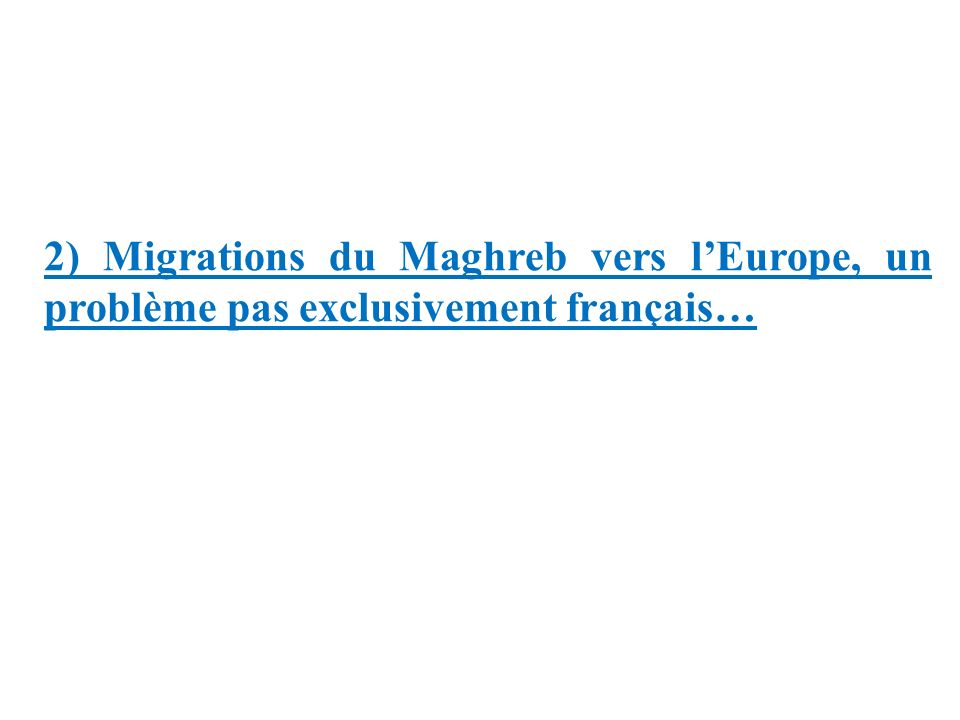 2) Migrations du Maghreb vers l'Europe, un problème pas exclusivement français…
