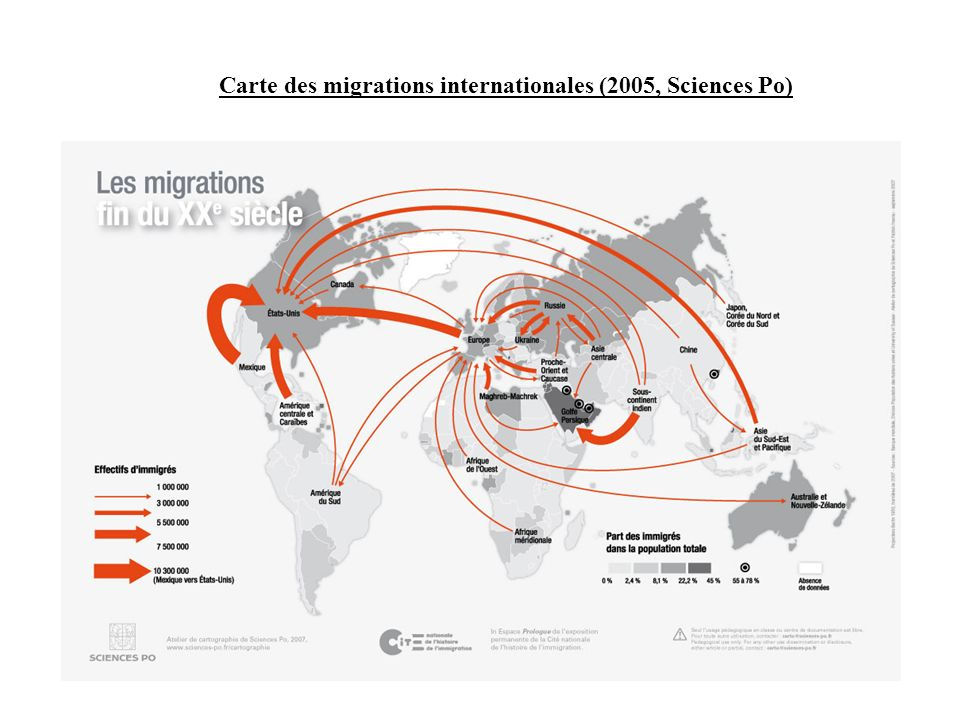 Carte des migrations internationales (2005, Sciences Po)