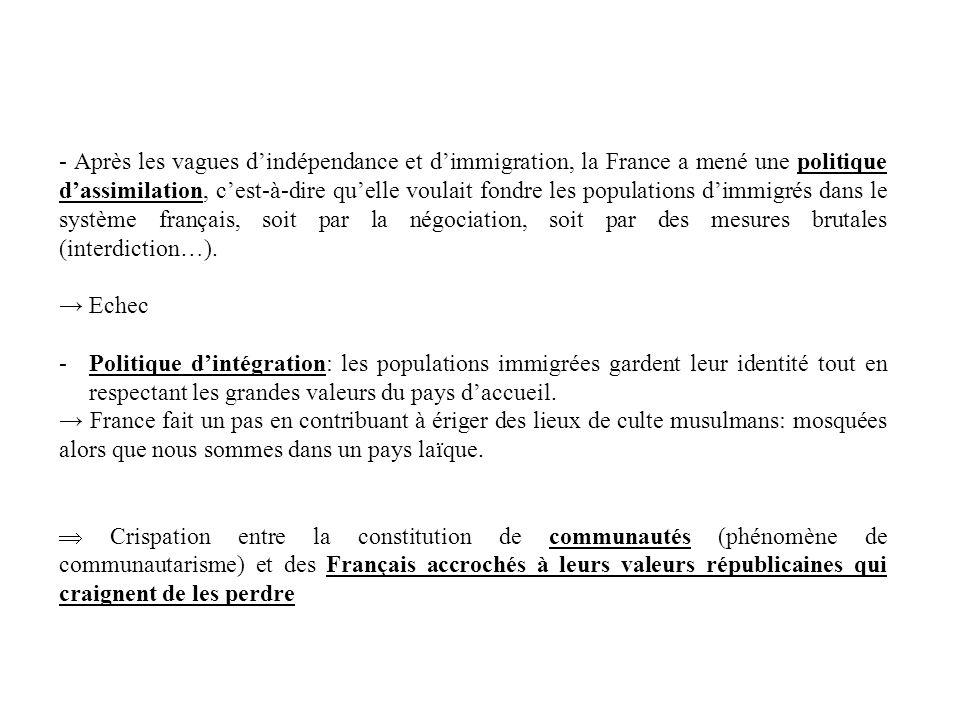 - Après les vagues d'indépendance et d'immigration, la France a mené une politique d'assimilation, c'est-à-dire qu'elle voulait fondre les populations d'immigrés dans le système français, soit par la négociation, soit par des mesures brutales (interdiction…).