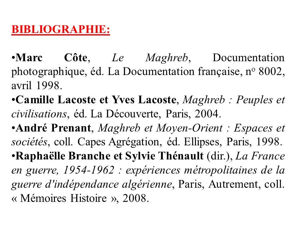 BIBLIOGRAPHIE: Marc Côte, Le Maghreb, Documentation photographique, éd. La Documentation française, no 8002, avril 1998.