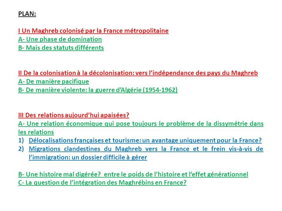PLAN: I Un Maghreb colonisé par la France métropolitaine. A- Une phase de domination. B- Mais des statuts différents.