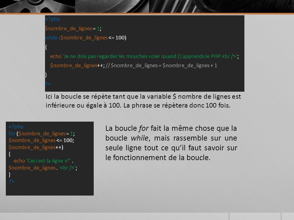 < php $nombre_de_lignes = 1; while ($nombre_de_lignes <= 100) { echo Je ne dois pas regarder les mouches voler quand j\ apprends le PHP.<br /> ; $nombre_de_lignes++; // $nombre_de_lignes = $nombre_de_lignes + 1 } >