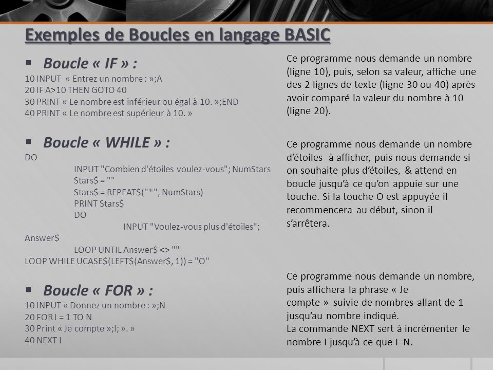 Exemples de Boucles en langage BASIC