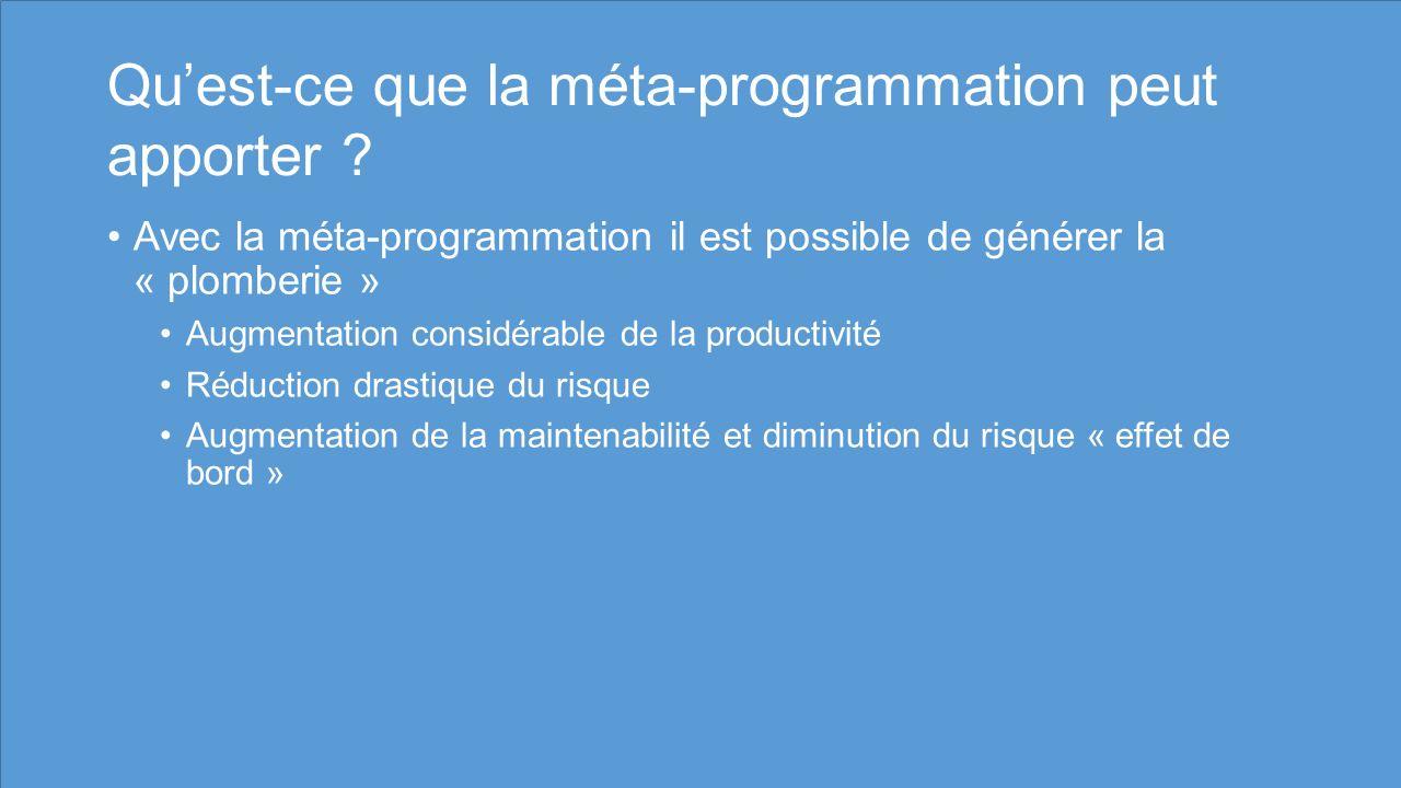 Qu'est-ce que la méta-programmation peut apporter
