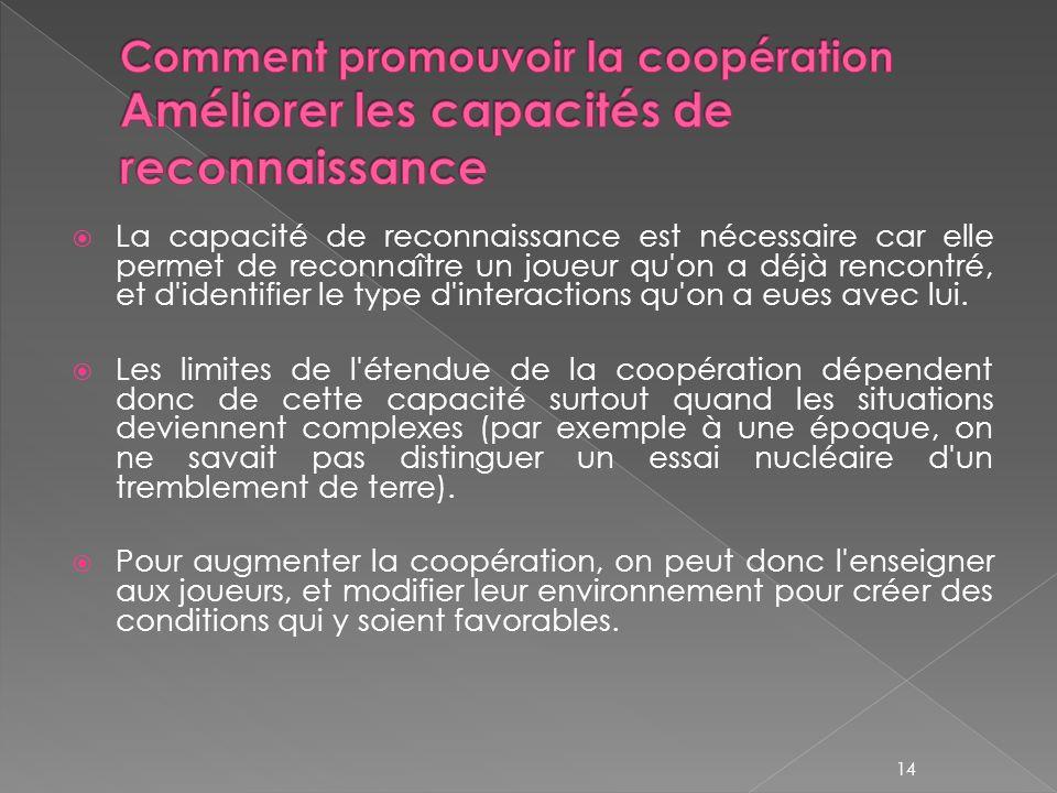 Comment promouvoir la coopération Améliorer les capacités de reconnaissance