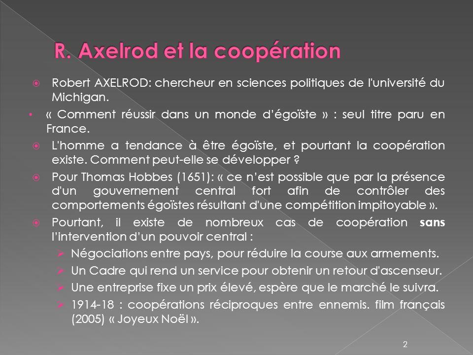 R. Axelrod et la coopération