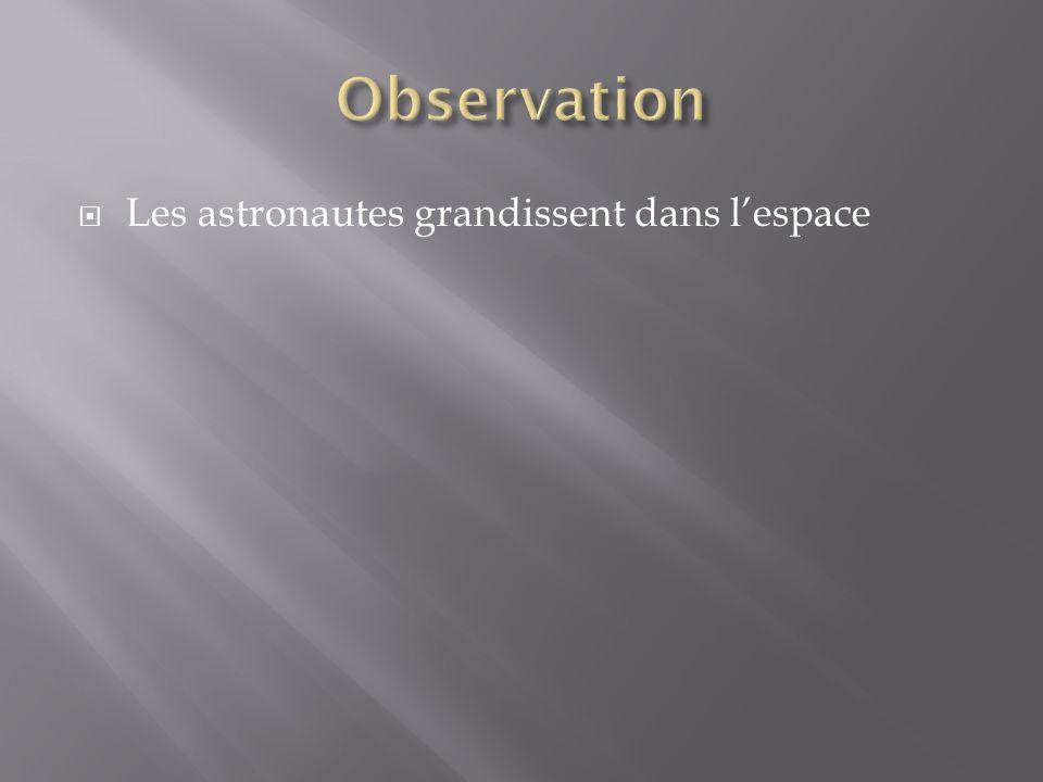Observation Les astronautes grandissent dans l'espace