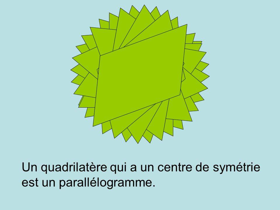 Un quadrilatère qui a un centre de symétrie est un parallélogramme.