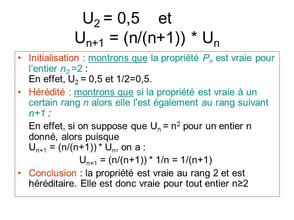 U2 = 0,5 et aaau Un+1 = (n/(n+1)) * Un