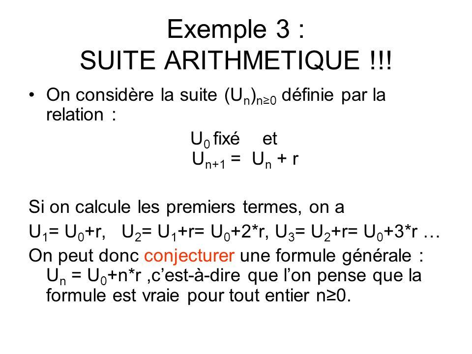 Exemple 3 : SUITE ARITHMETIQUE !!!