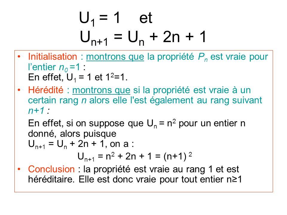 U1 = 1 et aaaaau Un+1 = Un + 2n + 1