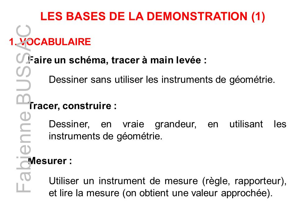 LES BASES DE LA DEMONSTRATION (1)