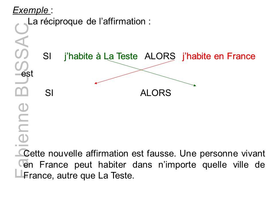Fabienne BUSSAC Exemple : La réciproque de l'affirmation : SI