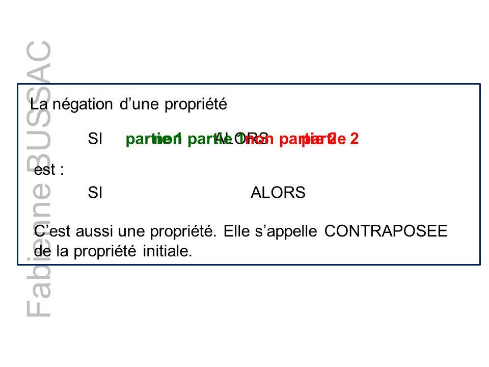 Fabienne BUSSAC La négation d'une propriété SI partie 1 ALORS partie 2