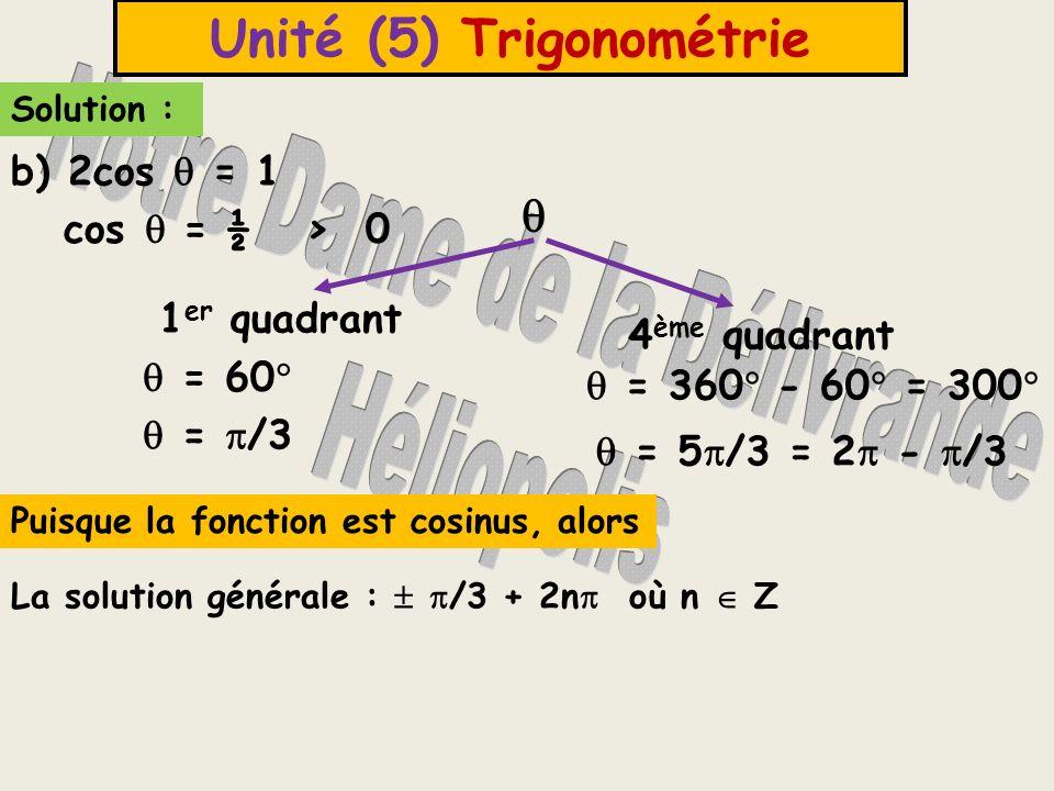 Unité (5) Trigonométrie