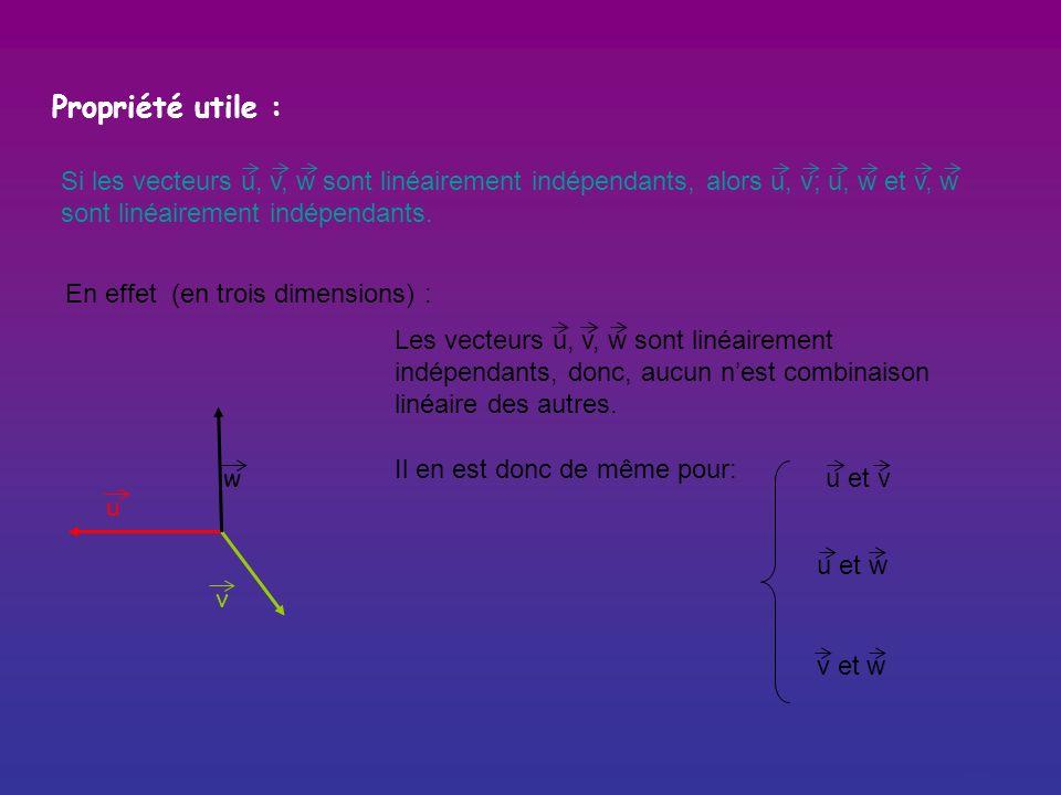 Propriété utile : Si les vecteurs u, v, w sont linéairement indépendants, alors u, v; u, w et v, w sont linéairement indépendants.
